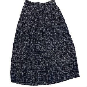 Vintage navy dotted midi skirt